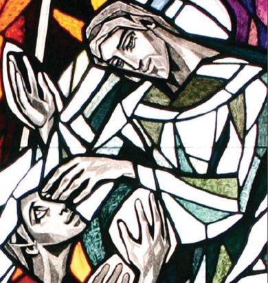 Detail of Christ the Healer By Isabel Piczek Heart of Jesus Retreat Center Chapel ©1998 Society Devoted to the Sacred Heart